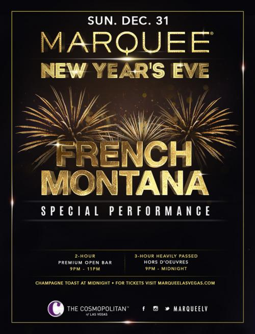 Marquee Las Vegas, NYE 2018 Featuring French Montana