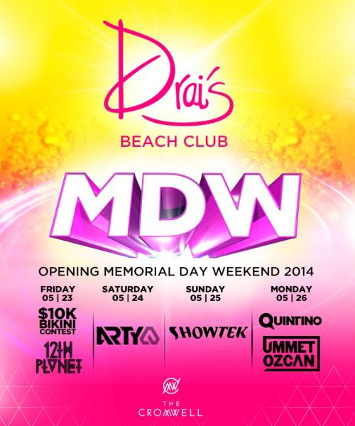 MDW Drai's Beach club Las Vegas, Featuring Arty