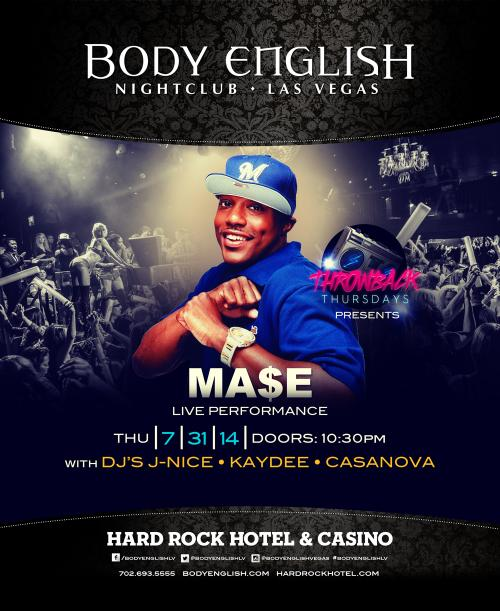 Body English Nightclub,Las Vegas, Featuring MA$E