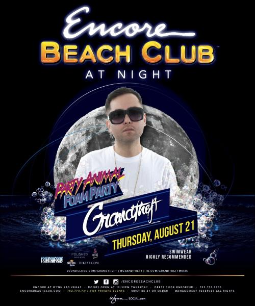 Encore Beach Club at Night, Las Vegas foam party featuring GrandTheft