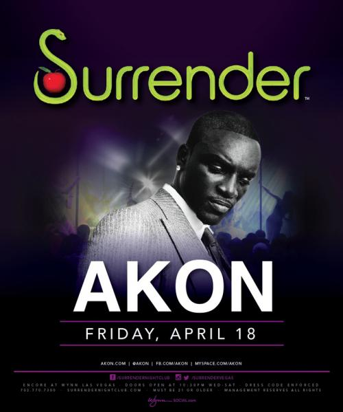 Surrender Nightclub Las Vegas, Featuring Akon