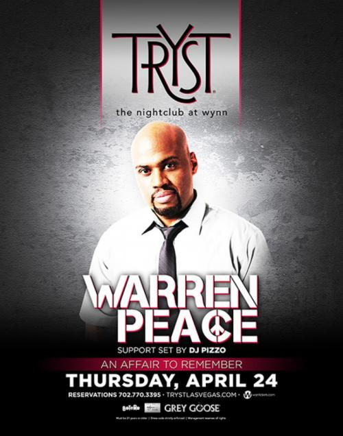 Tryst Nightclub Las Vegas, Featuring Warren Peace