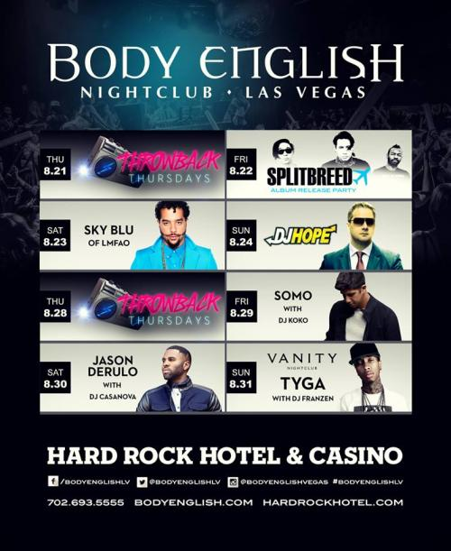 Body English Nightclub Rock Candy Fridays Splitbreed