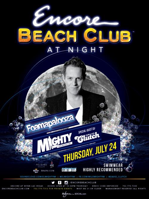 Encore Beach Club (at night) Las Vegas featuring Foamapalooza