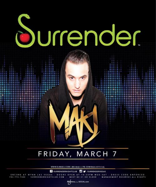 Surrender Nightclub Las Vegas,Featuring MAK J